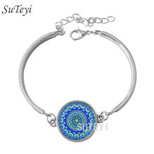 Buy SUTEYI Vintage blue mandala lotus bracelet henna yoga bracelet dome glass handmade jewelry om symbol buddhism zen women bracelet for $1.29 in AliExpress store