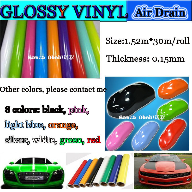 Guaranteed 100% Factory Price (1.52x10M) glossy vinyl car stickers for laptop/german car stickers(China (Mainland))