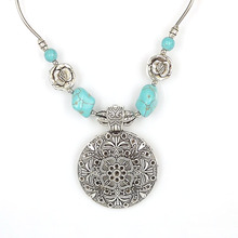 NR098 Bohemian Carved Tibetan Silver Turquoise Stone vintage choker necklace chain Jewelry Jewellery Bijouterie for Women Girl's(China (Mainland))