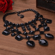 Hot Luxury Antique Vintage Black Rhinestone Necklace Charm Net Collar Statement Choker Necklaces Pendants Women Jewelry SV014304(China (Mainland))
