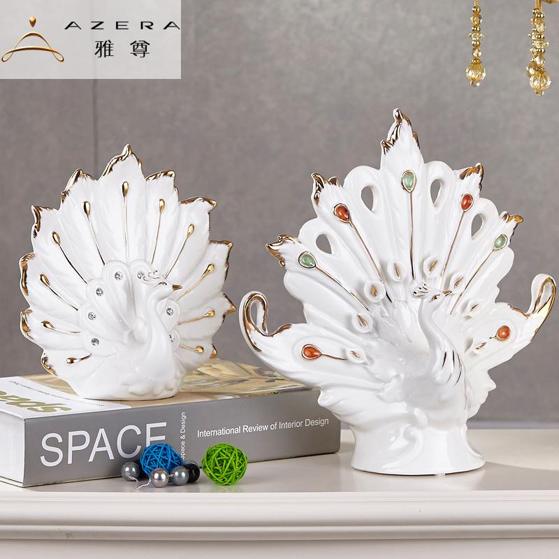 European Ceramic peacock Room Decor fashion ornaments Home Furnishing handmade crafts furnishings wedding gift(China (Mainland))