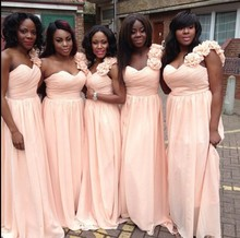 2015 Plus Size A Line One Shoulder Chiffon Women Party Gown Light Pink Bridesmaid Dresses For Weddings Robe Demoiselle D'honneur