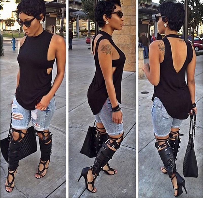 Nieuwe mode zomer 2015 stijl vrouwen lange t shirt merk t shirt jurk zwarte mouwloze vrouwen - Mode stijl amerikaans ...