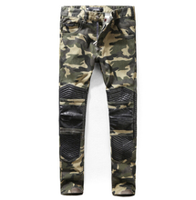 Plus size 28-38 casual Camouflage leather jeans men fashion long pants male singers DJ stage Trousers costume men's wear(China (Mainland))