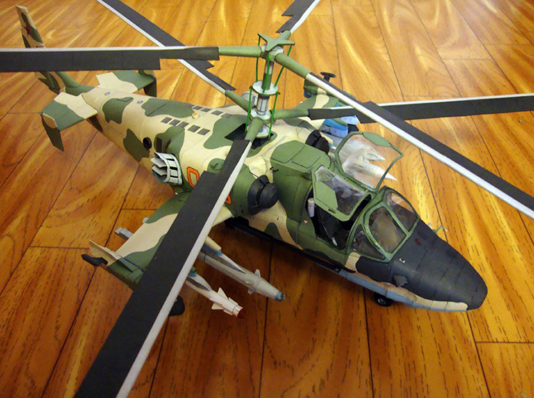 Russia K-52 Helicopter Plane Papler Model Do It Yourself DIY(China (Mainland))