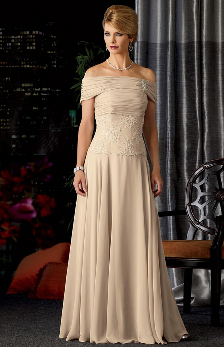 Buy champagne strapless chiffon backless for Mothers dresses for weddings