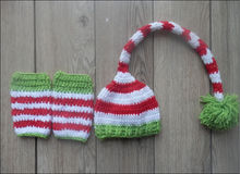 Christmas Design Hat Baby Handmade Beanies Costume Knitted Newborn Long Tail Crochet Photography Props