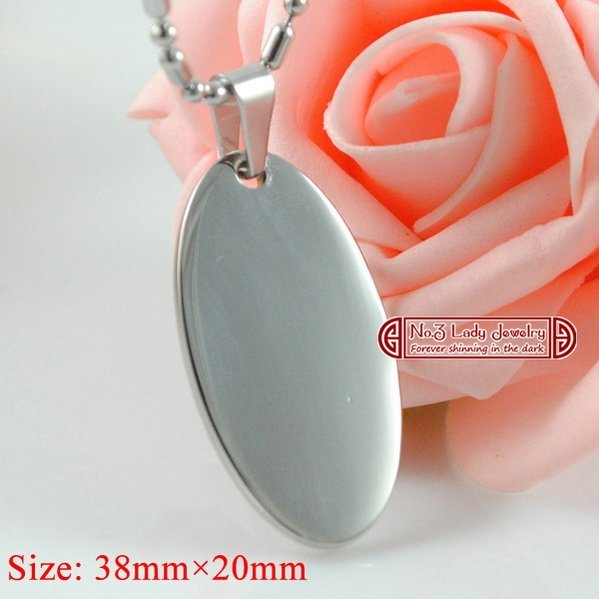 Size: 3.8cm*2cm, Stainless Steel Oval Dog Tag Pendant Blank Necklace, Laser Engrave Logo Customize,wholesale,free shipping WJP18