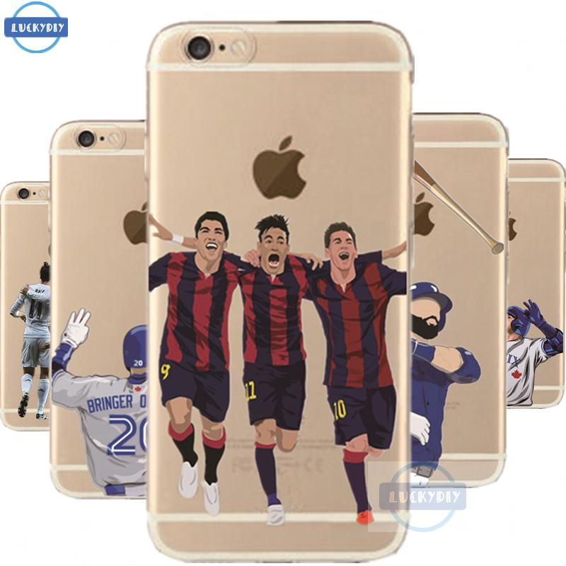 Transparent Fasion Sports Stars Phone Case For iphone 6 6S Case clear soft slim silicone rugby football baseball phone cover(China (Mainland))