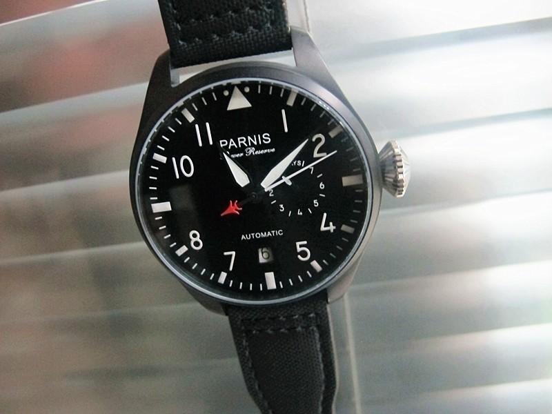 48 мм Парнис Fashional Смотреть Черный циферблат Запас хода Автоматическая пилота Наручные Часы