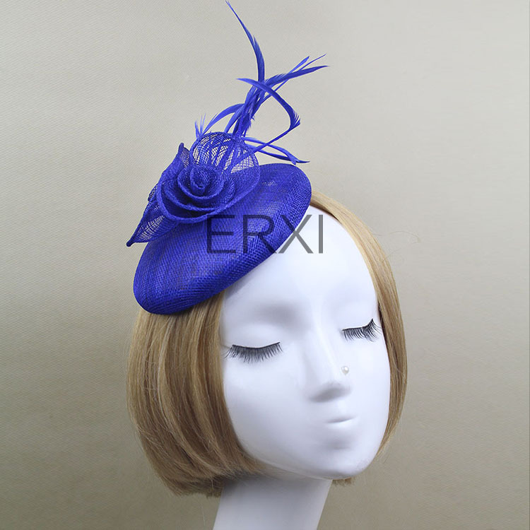 Free shipping,Hot Sale Design Navy Sinamay Base Fascinator Clip Wedding/Party Hair Accessories Headwear(China (Mainland))