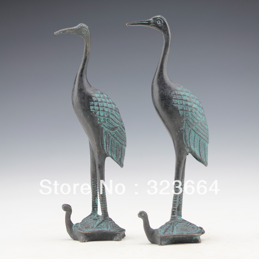 COLLECTIBLE OLD HAND CARVING PAIR BRONZE CRANE ON LONGEVITY TORTOISE STATUE(China (Mainland))