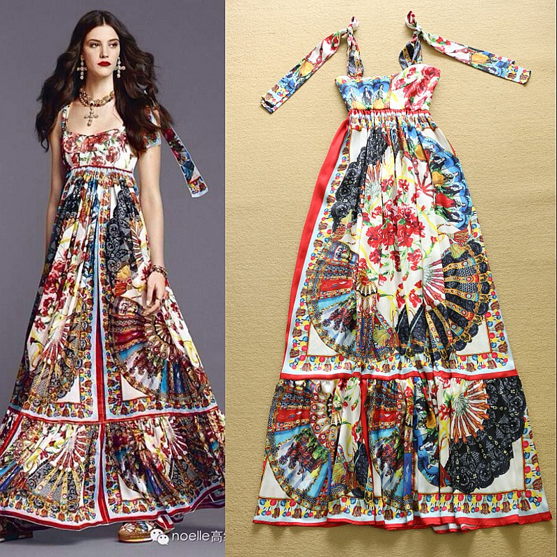 2015 Runway Fashion Wheel Print High Waist Bohemian Maxi Dress Beach Summer Long M15097 - CherryBerry Mall store