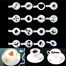 16Pcs Creative Nice Coffee Barista Stencils Template Strew Pad Duster Spray Art