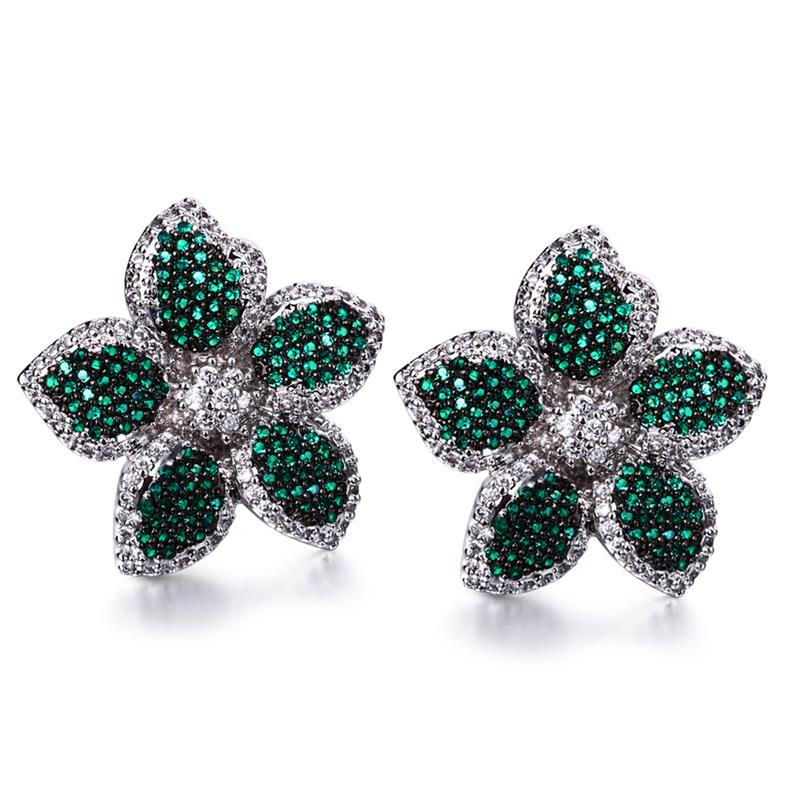 Love Deluxe Earrings-Small Flower Earrings Stud Platinum and Gun Plated AAA Zircon Fashion Women Wedding Earrings Free Shipping(China (Mainland))