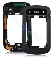 Middle Chassis Housing back cover case middle frame For Blackberry Bold 9900 black and white with antenna earphone hold.(China (Mainland))