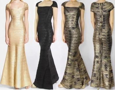 Elegant Sexy Lady's New Black Wash Gold Long Slim Short Sleeve Sheath Mermaid Dress European Women Bandage Formal Evening Dress(China (Mainland))