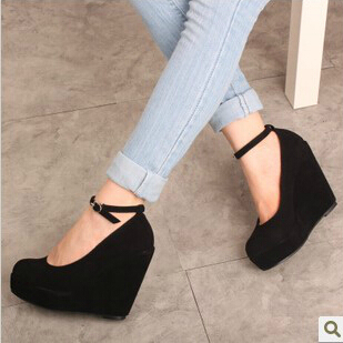 2014 Spring Autumn 11cm Heels Fashion Women Pumps Black Wedge High Buckle Strappy Platform Shoes Woman Ladies Female - Cats Lady Footwear store