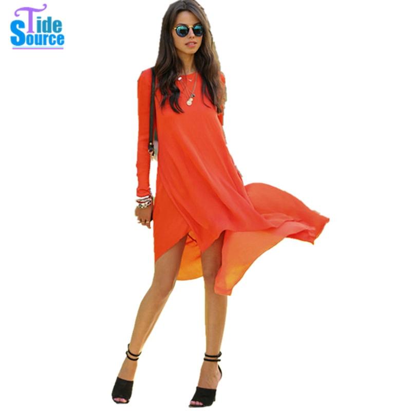 Plus Size Vestidos Clothing Casual Chiffon Summer Autumn Women Dress 2015 Orange Desigual Irregular Long Sleeve Party Dresses(China (Mainland))