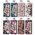 Wallet Style PU Leather Flip Stand Magnet Flower with diamond Card Phone Case Cover For Samsung