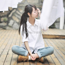 japanese high school uniform Pointed collar / square collar long-sleeved solid white T shirt for Anime cosplay