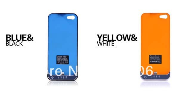 New arrival 2200mAh External Backup Battery Charger Case for iPhone 5, Free shipping, white and black color,wholesale price