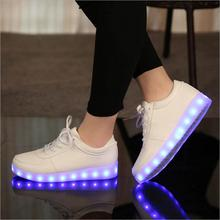2016 Women Colorful glowing shoes with lights up led luminous shoes new simulation sole size 27~46 for adults neon casual shoes(China (Mainland))