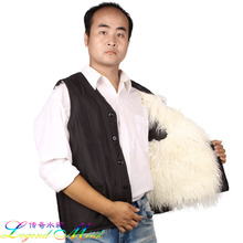Free shipping Male wool fur vest cotton sheepskin waistcoat vest quinquagenarian outerwear casual shiny V-neck commercial grey(China (Mainland))