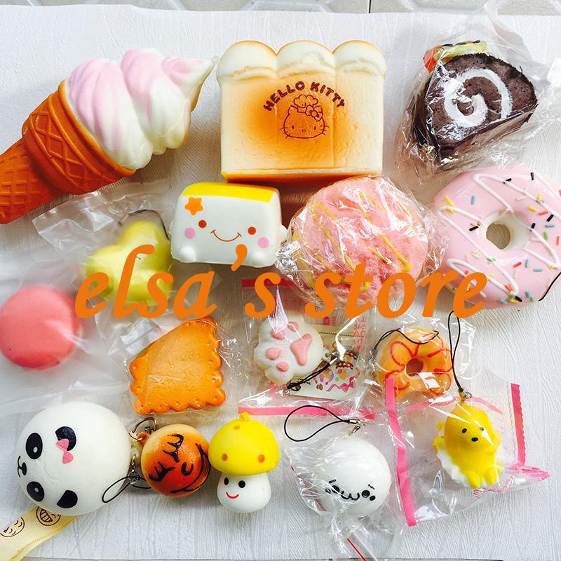squishies wholesale 10pcs mixed kawaii hello kitty donut squishy charm strap for mobile phone slow rise squishy soft hanpillow(China (Mainland))