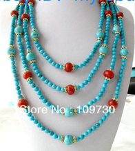 "Jewelry 002334 Blue Round Turquoise&Red Wheel Coral & Rhinestone Necklace 100"" (China (Mainland))"