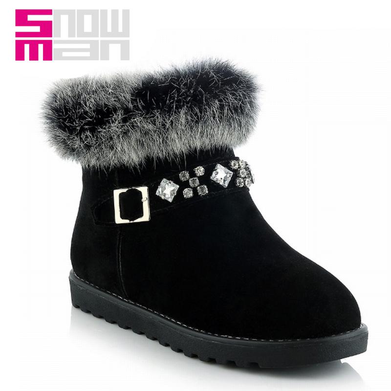 Rhinestone Rabbit Fur Women's Shoes Botas Snow Boots Women Boots Lady's Flat Sole Platform Snow Shoes Woman Warm Winter Boots