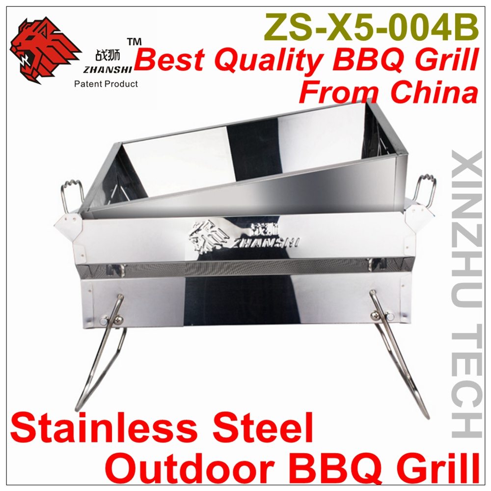 Outdoor Liftable Stainless Steel BBQ Grill Camping Charcoal BBQ Grill ZS-X5-004B Portable Barbecue Grill For 2-4 People use(China (Mainland))