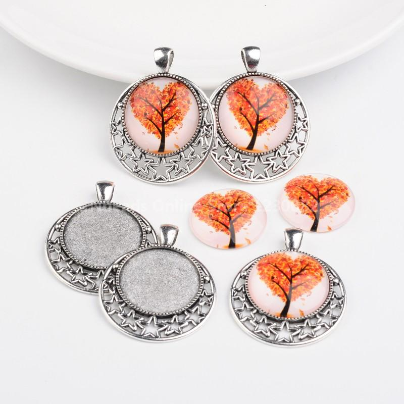 Antique Silver Alloy Pendant Cabochon Settings and Tree of Life Printed Half Round/Dome Glass Cabochons, Red, Settings: Tray:(China (Mainland))