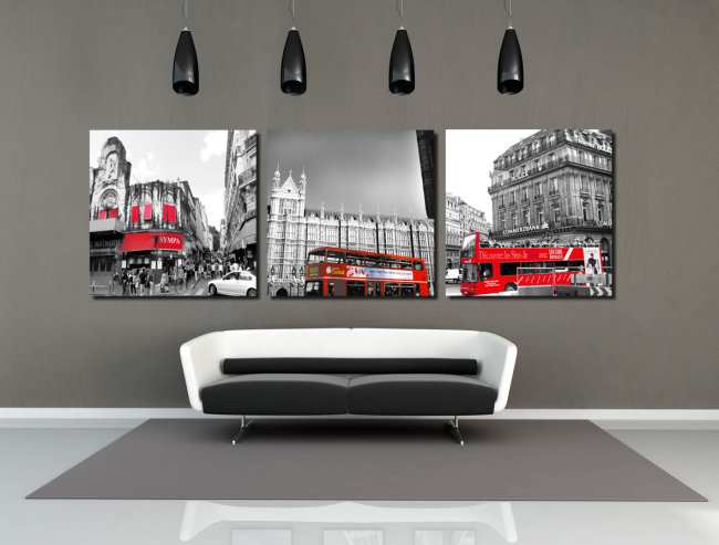 Free Shipping 3 Piece New Wall Painting of City And Bus Home Decorative Art Picture Paint on Canvas Print 50*50cm 14-19(China (Mainland))