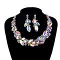 Aurora AB color Statement Necklace Choker Bridal Wedding jewelry sets Women party earrings set Rhinestone dress accessories