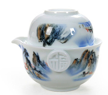gaiwan Blue and white porcelain Ceramic tea sets Landscape painting Kung Fu Tea Quik Cup pot