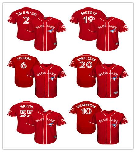 Toronto Blue Jays Jose Bautista Jersey Scarlet Canada Day Cool Base Player Jersey(China (Mainland))