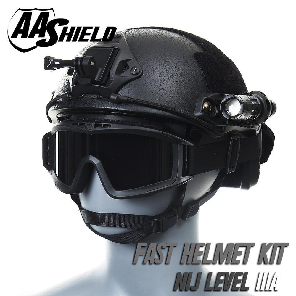 AA Shield Ballistic ACH High Cut Tactical Helmet Bulletproof Body Armor Aramid Core NIJ IIIA 3A Safety Helmet Goggles Kit Black(China (Mainland))