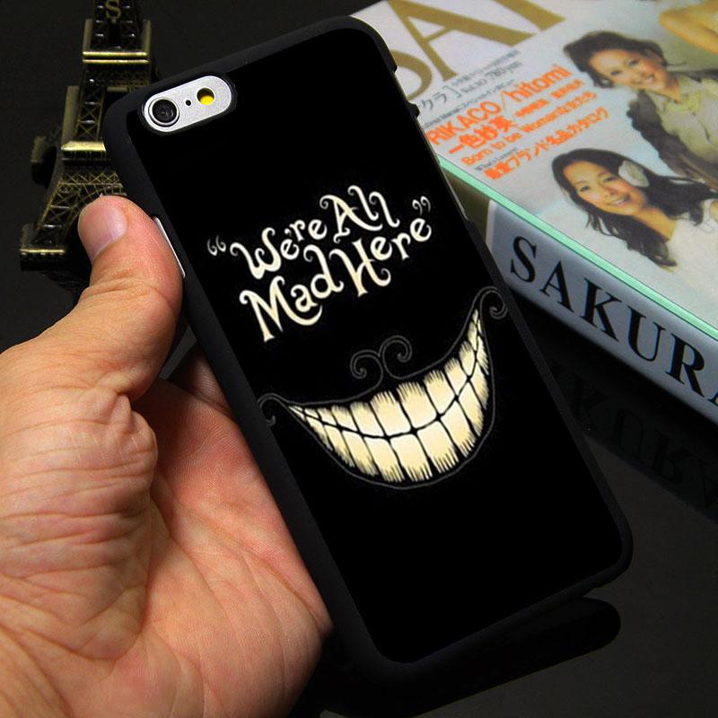 Alice in Wonderland Black Evil Cheshire Cat Case for Apple iPhone 4 4s 5 5s 5c 6 6s plus Hard Plasitc protective Cover phone