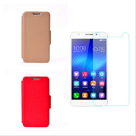 """2-IN-1 For 5"""" Panasonic Eluga Power/P51 Magnetic Flip Leather Phone Case +Tempered Glass Screen Protector Free Shipping(China (Mainland))"""