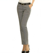 2016 Spring Summer Autumn Women Slim Casual Pants Work Wear Career Houndstooth Pants Straight Pencil Pants Women trousers female(China (Mainland))