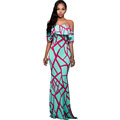 Women Summer Style Long Dress Maxi Elegant Vintage Off Shoulder Geometric Print Bodycon Party Dresses Vestidos