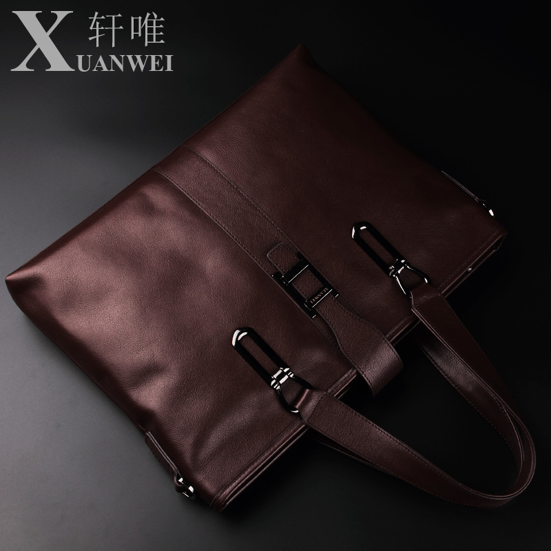 2015 XUANWEI head layer cowhide portable mens bags cross section square business briefcases leather men shoulder his laptop bag<br><br>Aliexpress
