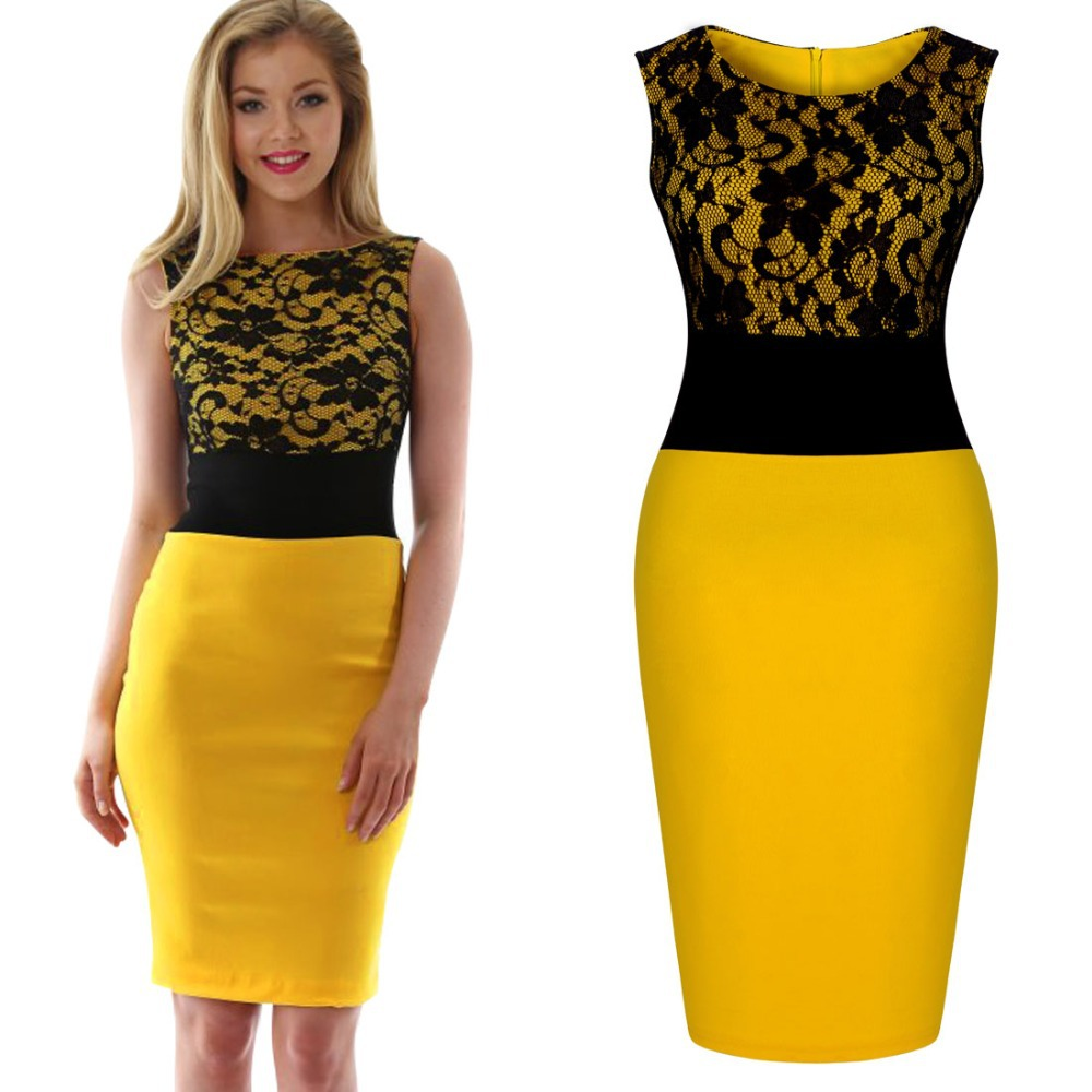 Women-Black-Lace-Panel-Wintage-Bodycon-Dress-Prom-Party-Yellow-Fashion-Dress.jpg
