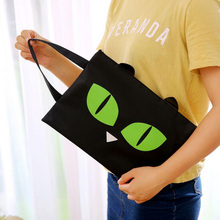 J25 Kawaii Lovely Oreo Cat Canvas A4 Big Capacity Document Bag Business Briefcase Storage File Folder Papers Shopping Bag Gift(China (Mainland))