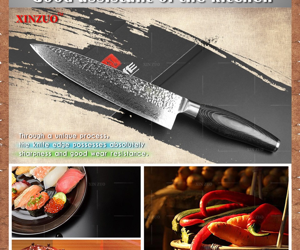 "Buy XINZUO HIGH QUALITY 8"" inch chef knife Chinese best Damascus kitchen knife woman chef knife with K133 wood handle free shipping cheap"