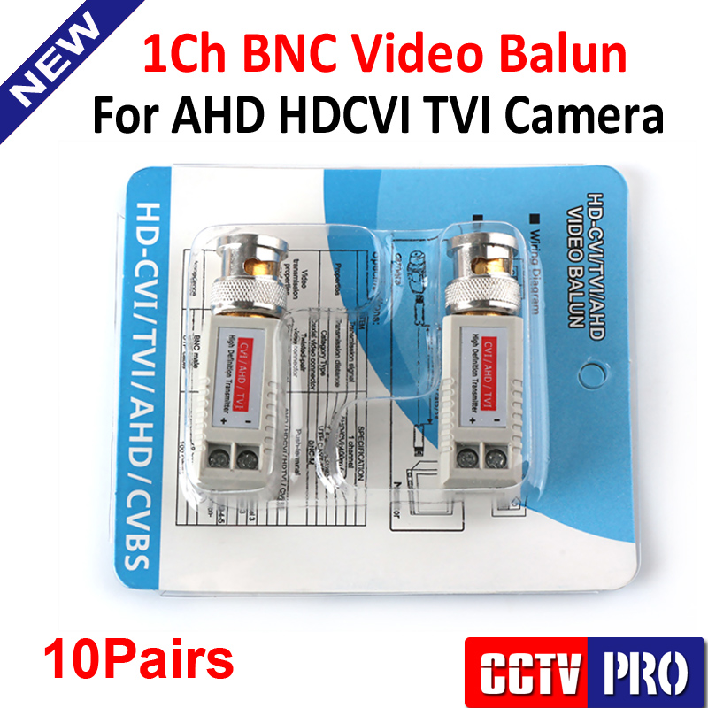 10Pairs CCTV Twisted BNC Passive Video Balun Transceiver CAT5 UTP Cable Coaxial Adapter For 200M Range 720P AHD/HDCVI/TVI Camera(China (Mainland))