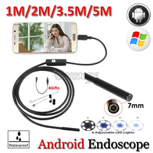 Buy 7mm Lens Android USB Endoscope Camera 5M 3.5M 2M 1M Hard Wire Flexible Snake USB Pipe Waterproof Borescope Android Camera for $9.38 in AliExpress store