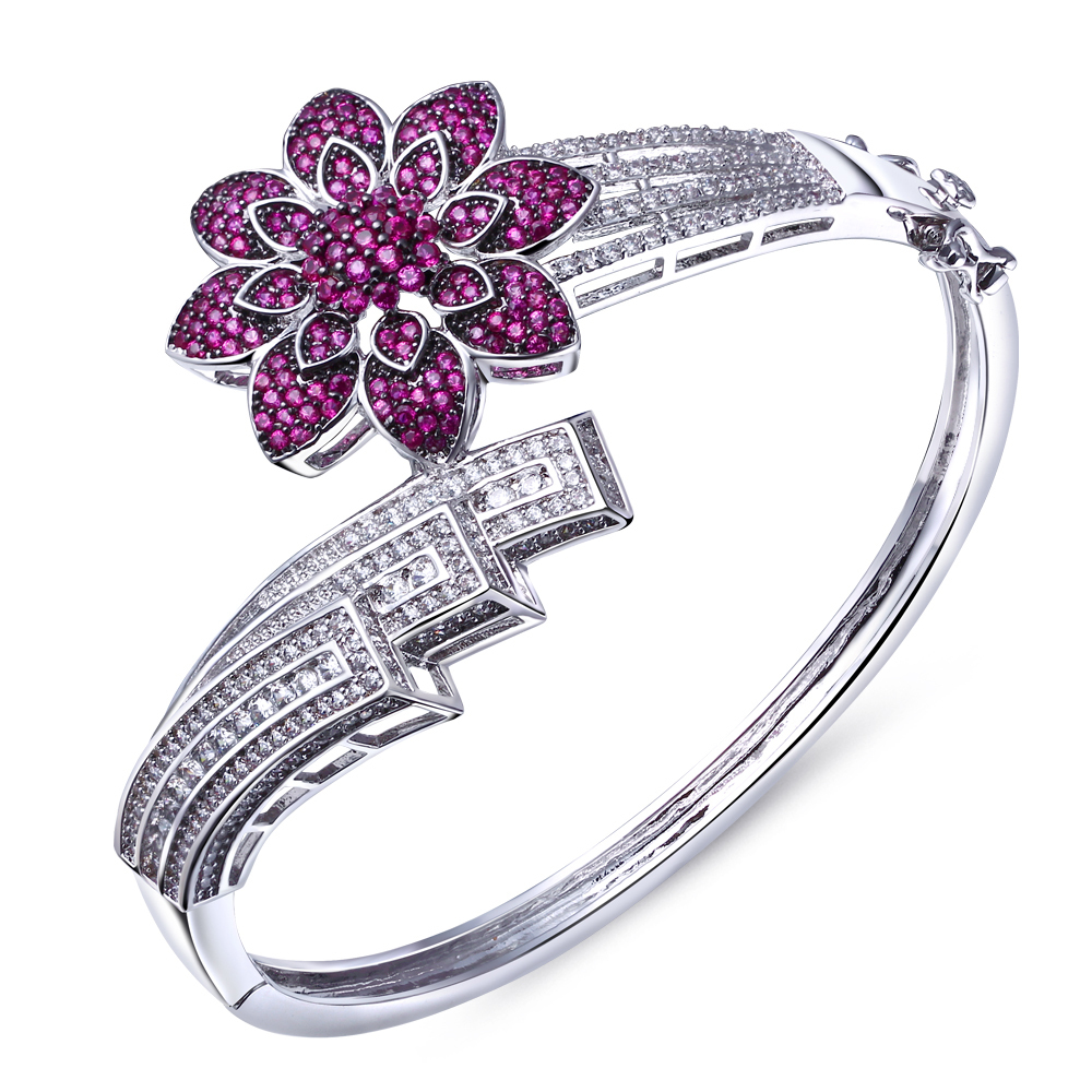 Sweet Look Red Flower Bangles Lover Jewelry Statement Bracelet bangles Made aaa Cubic Zirconia Platinum Plated - Beauty Accessories online shop store