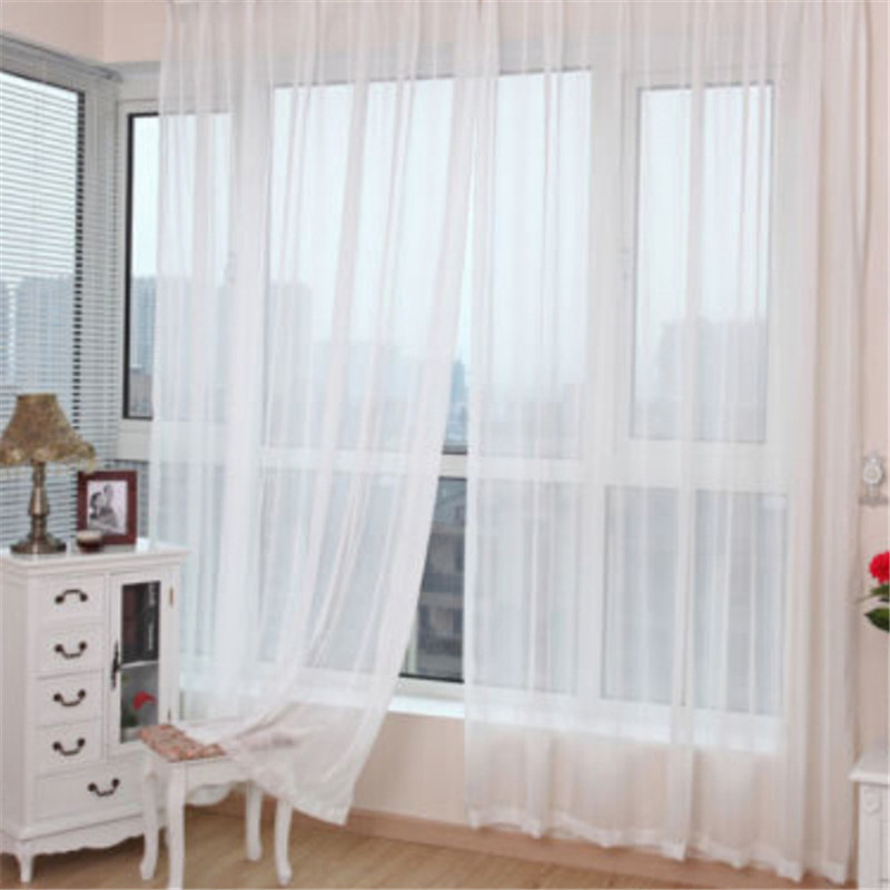 1pcs Sheer White Voile Scarf Curtain Panel Sets Curtains Home Decoration Door Window Curtain for Living Room Door window Curtain(China (Mainland))